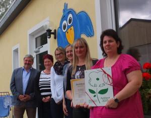 """Zertifikatsübergabe an die Kita """"Vogelnest"""" in Neustadt/Sachsen©SLfG"""