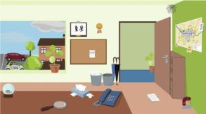 Aktionsraum Büro: Die Führungskraft/der Spielende wird durch kleine Hinweise auf die Belastungen seiner Pflegekräfte aufmerksam gemacht.