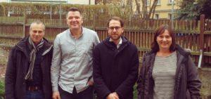 v. l. n. r. Gottfried Linke (DRK), Carsten Seitz (AWO), Johann Große (SLfG), Gabriele Keil (Diakonie) © SLfG
