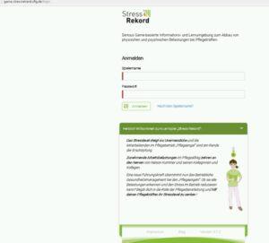 Screen von Website Lernspiel