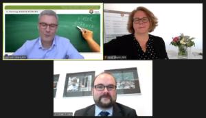 Screenshot Staatsminister Piwarz und Projektleitung Silke Meyer sowie Andreas Wiere©SLfG/KBS