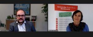 Staatsminister Christian Piwarz, hier im Screenshot mit Projektkoordinatorin Eileen Hornbostel © SLfG
